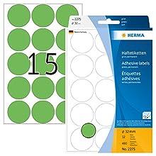 Herma 2275 - Etiquetas multiuso, diámetro 32 mm, redondo, papel mate, 480 unidades, color verde