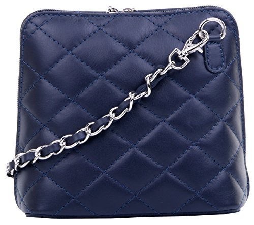 Primo Sacchi? Italian Leather Hand Made Small/Micro Quilted Shoulder Bag Handbag, with Metal Chain and Leather Strap Includes a Branded Protective Storage Bag Navy Blue