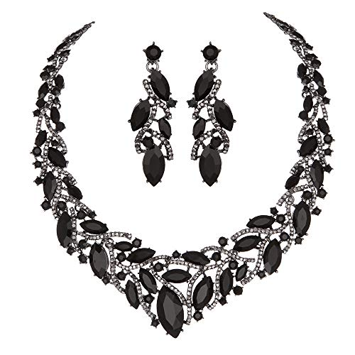 - Youfir Women's Elegant Austrian Crystal Necklace and Earrings Jewelry Set for Wedding Dress (Black)