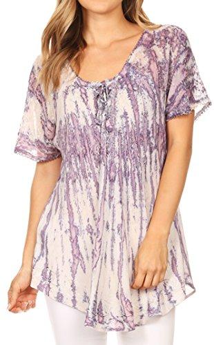 Sakkas 787New - Zoya Marbled Embroidery Cap Sleeves Blouse / Top - Violet - OSP