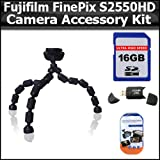 Accessory Kit For Fujifilm FinePix S2550HD 12 MP Digital Camera Includes Gripster Flexible Tripod + 16GB High Speed SD Memory card + USB 2.0 High Speed Card Reader + Clear LCD Screen Protectors