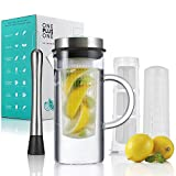 Fruit Infusion Pitcher, Cold Brew Coffee & Iced Tea Maker | 34oz Borosilicate Glass Pitcher with Stainless Steel Lid | Large Fruit Infuser & Fine Mesh Filter | FREE Muddler & Recipe | BPA Free