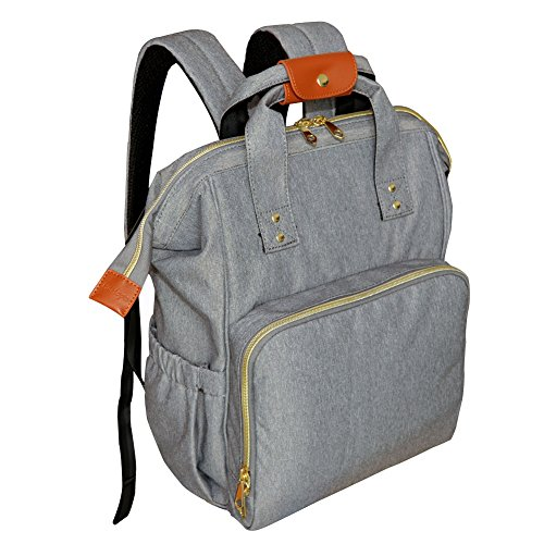Diaper Bag Backpack, HoHope Baby Diaper Bags Wide Open Designer with Insulated Pockets Stroller Straps and Changing Pad, Stylish and Durable, Grey