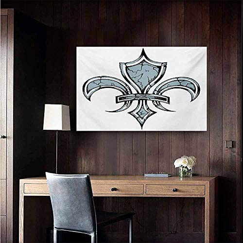 duommhome Fleur De Lis Light Luxury American Oil Painting Grungy Lily Retro Renaissance Spirit Element Victory Vintage Art Print Home and Everything 35