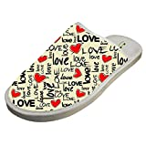 Jane-LEE Love Art House Slippers/Cotton Slippers/Flat Shoes/Indoor Slippers 10 D(M) US