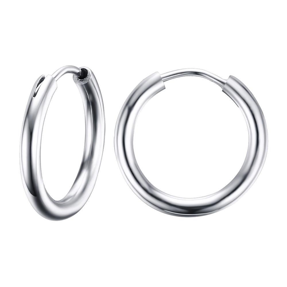 UM Jewelry Hip Hop Stainless Steel Mens Womens Endless Hoop Earrings for Cartilage 15mm