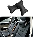 SunnyKun 2pcs Universal Leather Car Headrest Pillow Pad Car Seat Pillow Breathable Car Auto Head Neck Rest Cushion (Black)