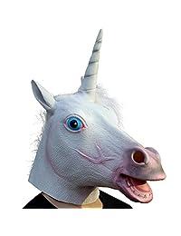 CreepyParty Deluxe Novelty Halloween Costume Party Latex Animal Head Mask Unicorn