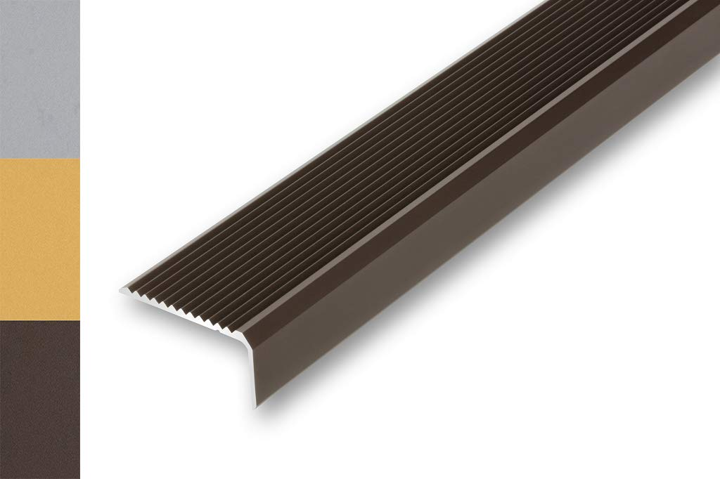 Stufenkante | Treppenabschlussprofil 830 mm Stufen-Profil ungebohrt , bronze 9,19/€//m Treppenwinkel 44 x 23 x 830 mm ungebohrt Treppen-Kantenprofil Alu-Winkel-Profil