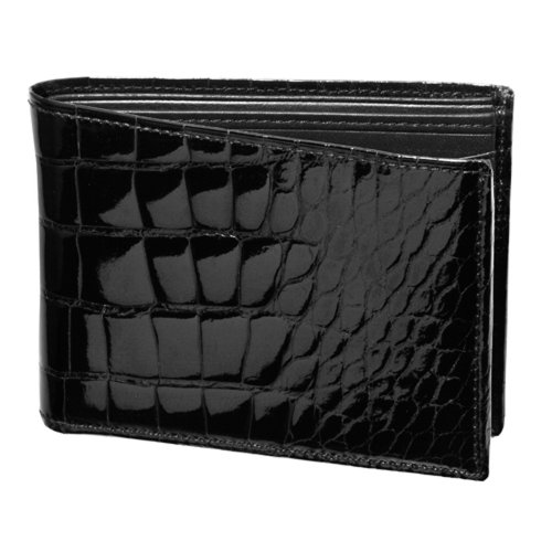 (Trafalgar Alligator Double Billfold Wallet in Black)
