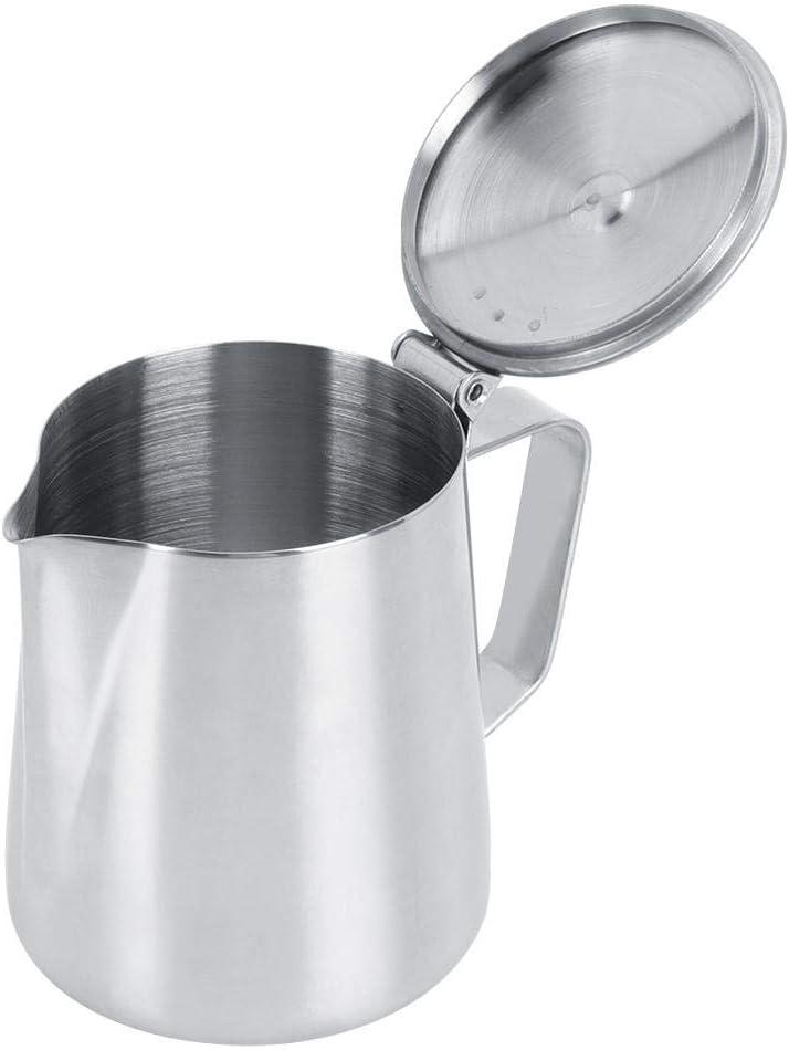 Jarras Vapor Espresso 350 Ml Taza Jarra Caf/é Con Leche Artesanal Caf/é Leche Acero Inoxidable Con Tapa