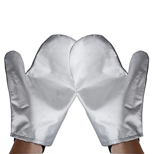 Garment Steamer Ironing Gloves Mitt Tingtio Anti Steam Gloves Durable Heat Resistant Waterproof Protective Ironing Glove for Garment Steamer Silver-1 Pair