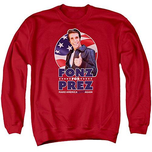 Happy Days - Fonz For Prez Adult Crewneck Sweatshirt