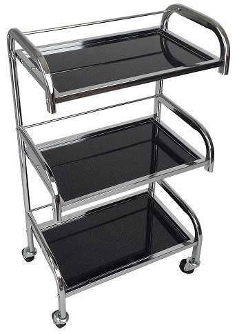 Eleanor Chrome Glass Salon Trolley - Black Sparkle Style - Hairdresser Barber Hair Beauty Drawers Spa Cart ST-ELNO-BLACK