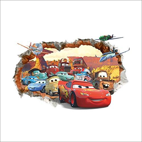 Kibi 3d Wandaufkleber Cars , Wandsticker Cars Disney Cartoon, Gebrochene Wand Wandtattoo Cars Kinderzimmer, Wohnzimmer, Schlafzimmer, Dekoration, Abnehmbare Afkleber Wall stickers PVC 50 (W) x 70 (H) CM yiwu nanchi trading co.ltd