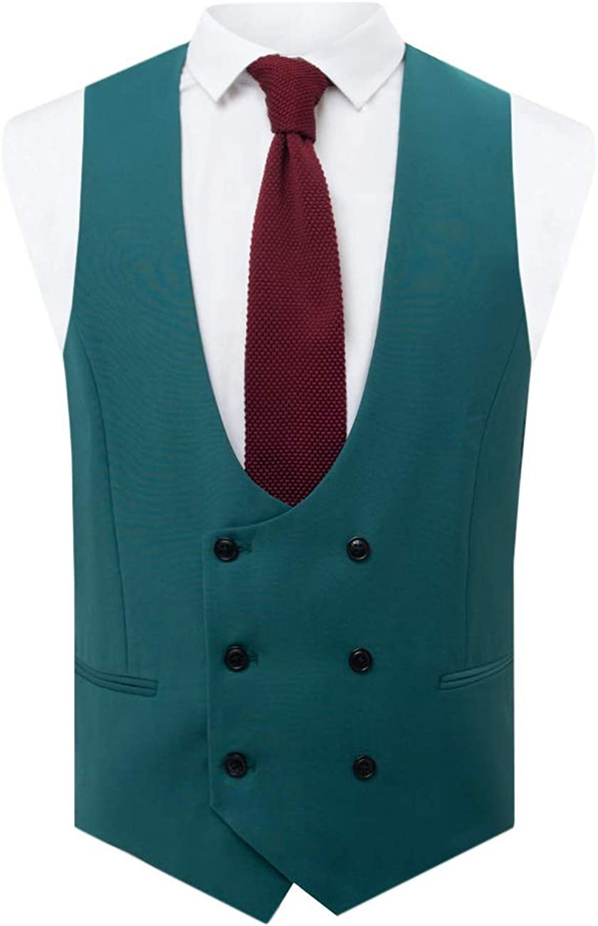 Dobell Mens Red Waistcoat Regular Fit Double Breasted Shawl Lapel Victorian Jacquard