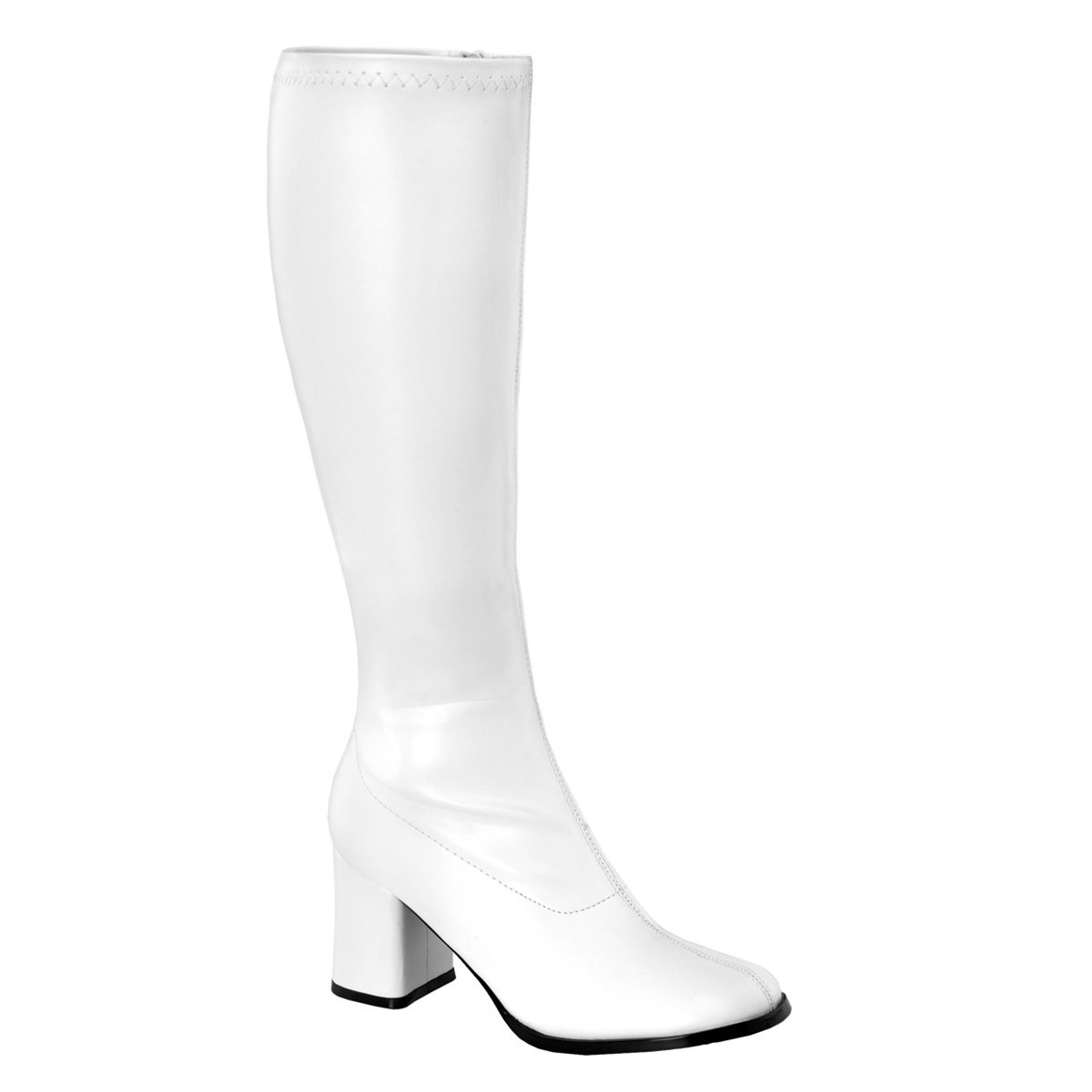 432d507e5f2 Womens White Go Go Boots 3 Inch Chunky Heel Stretch Knee Highs Boots Matte  Zip
