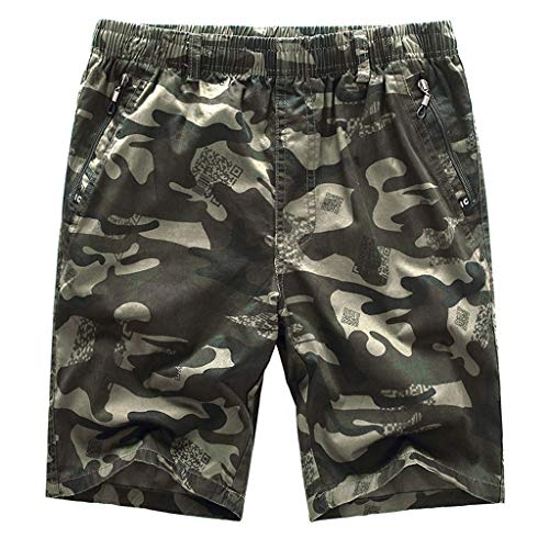 (POHOK Men Shorts Camouflage Men's Casual Pure Color Outdoors Pocket Beach Work Trouser Cargo Shorts Pants (2XL,Army Green))