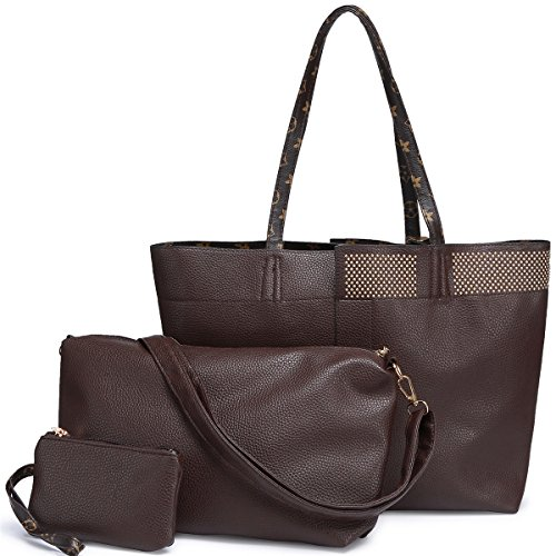 Dark Brown Leather 3 Piece - LOOSLOON Womens 3Pcs/Set Leather Handbags Fashion Casual Top Handle Satchel Shoulder Bag + Crossbody Messenger Bag + Tote Purse Wristle Wallett (Dark Brown)