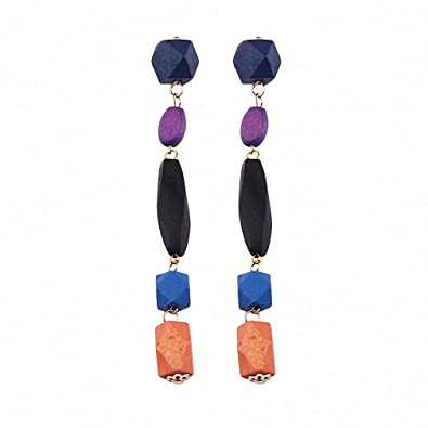 a29972c7f42260 Summer Long Pendant Earrings Women Colorful Wood Beads Tassel Earrings Boho Drop  Earrings Blue