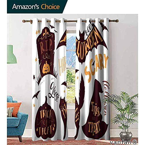 Vintage Halloween Bedroom CurtainsHalloween Symbols Trick or Treat Bat Tombstone Ghost Candy Scary Blackout Curtains Room/Kid's Room W72 x L96 Dark Brown -