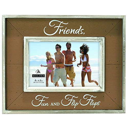 Flip Flop Photo Frames (Malden International Designs Sun Washed Woods Friends Fun and Flip Flops Brown Picture Frame, 4x6, Brown)