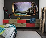 Startonight 3D Mural Wall Art Photo Decor Jurassic Dinosaur World Ii Amazing Dual View Surprise Large 47.24 Inch By 86.61 Inch Wall Mural Wallpaper or Bedroom Kids Space (Multi 112)