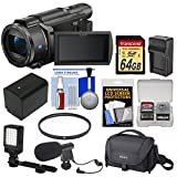 Sony Handycam FDR-AX53 Wi-Fi 4K Ultra HD Video Camera Camcorder with 64GB Card + Battery & Charger + Case + Filter + LED Light + Microphone + Kit