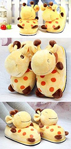 Acdiac Hiver Mignon Animal Forme Peluche Maison Pantoufles Mode Chaud Animal Intérieur Chaussures Pour Femmes Girafes