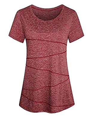 Yoga Tops for Women Short Sleeve Sports Seamless Activewear Running Workout Tshirts