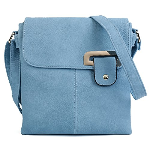 Messanger Craze bag Multiple Trim Gold Pockets body Trendy Cross London Womens Blue Light Medium Shoulder 4qwSHAB