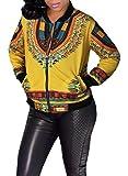 Pivaconis Womens Africa Ethnic Chic Print Dashiki Coat Plus Size Jacket Yellow XS