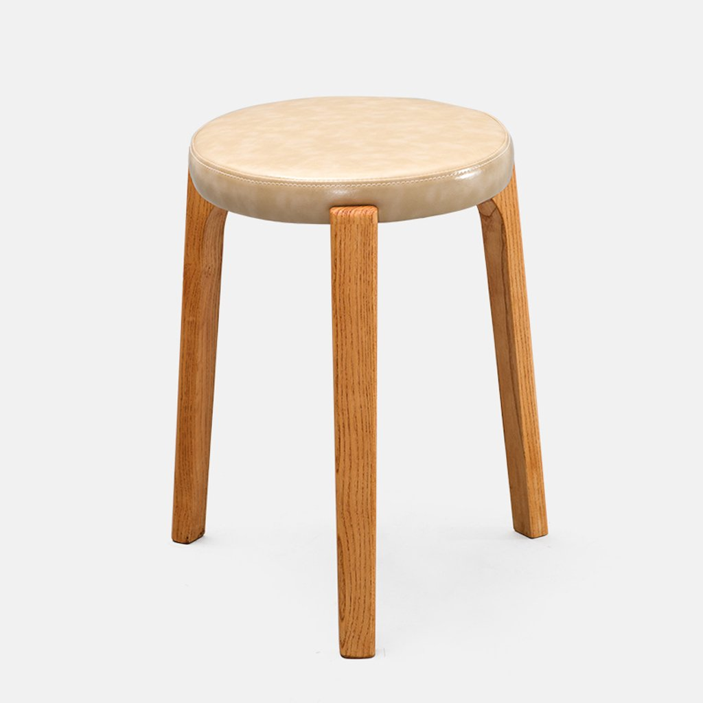 TangMengYun European Solid Wood Creative Small Stool, Home Dressing Stool Meal Stool Leisure Stool Small Round Stool -31 31 45cm (Color : Beige, Size : 313145cm)