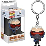 Funko Soldier 76: Overwatch x Pocket POP! Mini-Figural Keychain + 1 Video Games Themed Trading Card Bundle [32774]