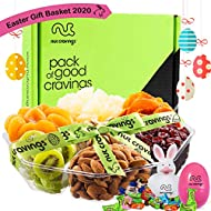 Easter Gift Basket For Women, Candy Filled Eggs & Bunny, Gourmet Nut & Dried Fruit Tray (7 Section) - Healthy Food Edible Arrangement Platter - Family, Adults, Men, Kids, Boys, Girls - Prime Delivery