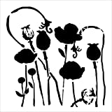 CRAFTERS WORKSHOP TCW628S Template, 6'' x 6'', Poppy Garden, White