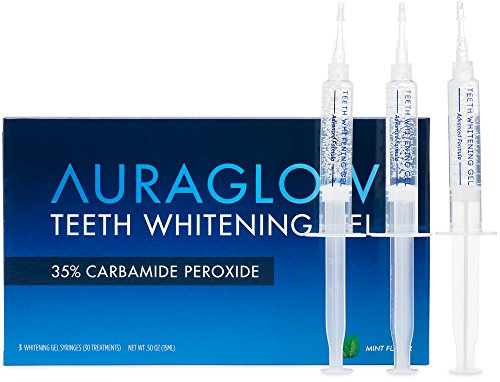 AuraGlow Teeth Whitening Gel Syringe Refill Pack, 35% Carbamide Peroxide, (3) 5ml Syringes Carbamide Peroxide Teeth