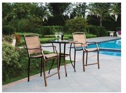 3 Piece Bar Height Bistro Table Chair Set Patio Furniture Ou
