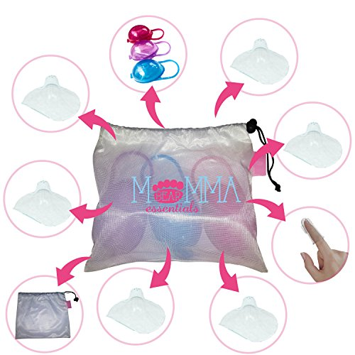 Momma Bear Nipple Shields, 6 shields, 3 cases & FREE Baby toothbrush Best for FLAT/INVERTED/CRACKED nipples Continue breastfeeding EASILY Case fits major pacifier brands. Non-Toxic, BPA & BPS Free