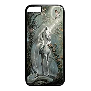 iPhone 6 Cases, iPhone 6 Cases, Retro Unicorn, Flower and Butterfly Painting Case for iPhone 6 -- Black Plastic Case