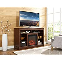 WE Furniture 52 Fireplace Tall TV Console with Open Storage - Brown