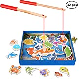Magnetic Wooden Fishing Toy Set - Fishing Game Lets Go Fishing Toy Game 32Piece Fishes Basic Educational Development Wooden Magnetic Bath Fishing Travel Table Toy Halloween Christmas Birthday Gift for
