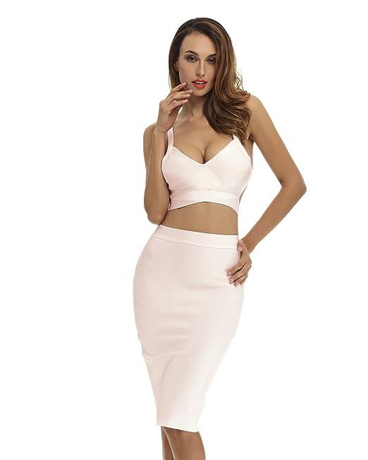 bf720266e98 Whoinshop Women's Bodycon Skirt Set 2 Pieces Sleeveless Celebrity Bandage  Dress (XS, Khaki)