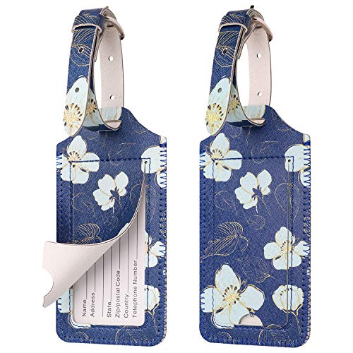 WALNEW Luggage Tag with Strap- Initial Bag Tag PU Leather Luggage Tags Suitcase Label 2 Pieces Set