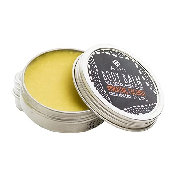 Alaffia -Coconut Reishi - Hydrating Body Balm, 1.5 Ounces 6 100% FAIR TRADE: Feel good about how you are getting your products with 100% Certified Fair Trade Ingredients. COCONUT, REISHI MUSHROOM AND SHEA: Fair trade, sustainable & wildcrafted ingredients from Alaffia cooperatives. FULL BODY BALM: For lips, elbows, hands, hair, cuticles, knees, heels, and beards.