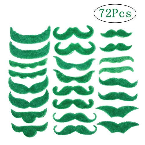 BKpearl 72 Pcs Green Mustache, Self Adhesive Fake Mustache Beard Novelty Mustache for ST Patrick's Day Mexcian and Birthday Party -
