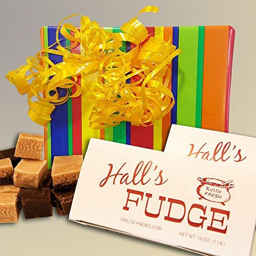 Maple Fudge Gift Box - Celebration Fudge Gift Box, 2 Pounds Hall's Fudge (Maple Walnut)