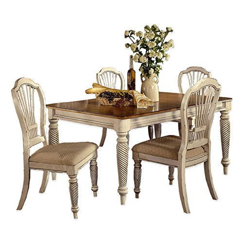 5-Piece Rectangle Dining Set in Antique White