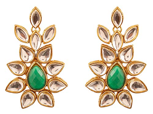Designer Bridal Earrings - Touchstone Indian Bollywood Classical Royal Mughal era Inspired Kundan polki Look Green Faux Emerald Bridal Designer Jewelry Chandelier Earrings for Women in Antique Gold Tone