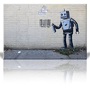 Wall26 - Canvas Print Wall Art - Robot Spray Paint Barcode - Street Art - Guerilla - Banksy Street Artwork on Canvas Stretched Gallery Wrap. Ready to Hang - 24 x 36 inches